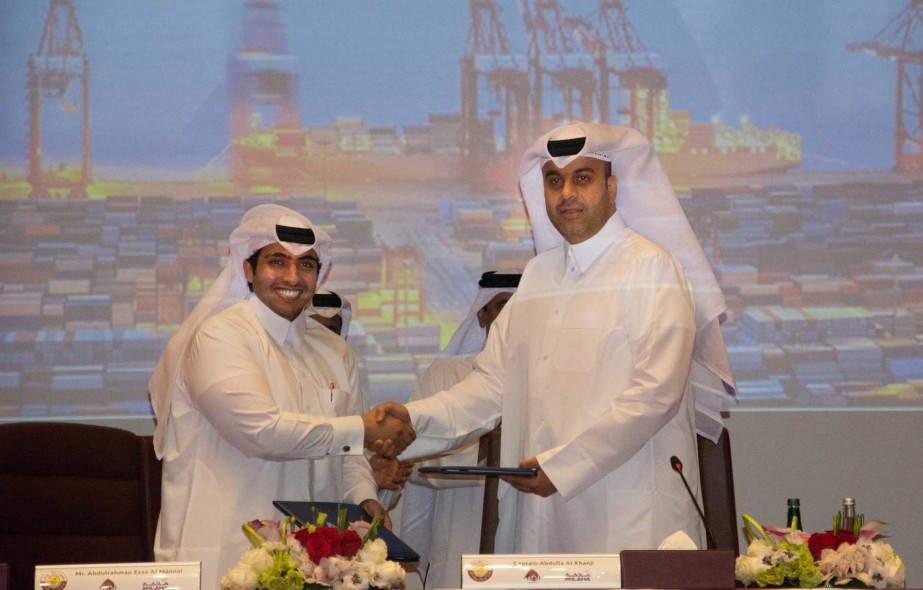 Mwani Qatar Chief Executive, Captain Abdulla Al Khanji and Milaha President and Chief Executive, Abdulrahman Essa Al-Mannai signing the joint venture deal relating QTerminals