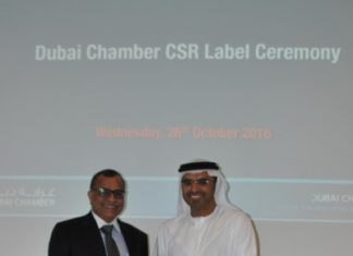 CSR Label certificate presented to Eugene May by Dubai Chamber of Commerce.