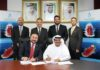 Joint venture agreement signed between Khamis Juma Buamim of Gulf Navigation and Aydin Alaftan of Polimer in Dubai