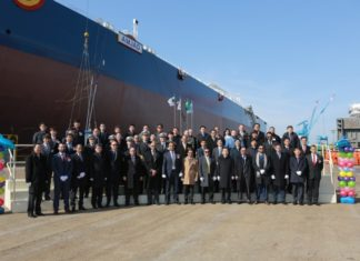 VIP guests from Bahri and HHI alongside the new VLCC, Amjad