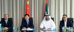 Chief Executive of Jafza and Senior Vice President and Managing Director of DP, UAE Region, Mohammed Al Muallem, and Chief Executive of CNPC Middle East, Zhu Junfen sign the agreement for CMPC to establish its regional HQ in Dubai