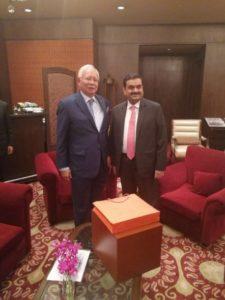 Gautama Adani, chairman of Adani Ports, with the Malaysian Prime Minister, Najib Razak