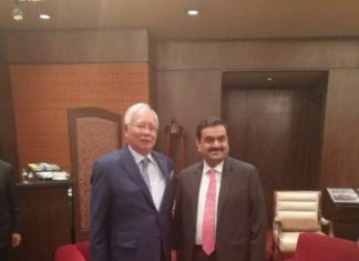 Gautama Adani, chairman of Essar Ports, with the Malaysian Prime Minister, Najib Razak