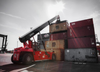 A Kalmar reach stacker of the type that will be operated at Hamad Port