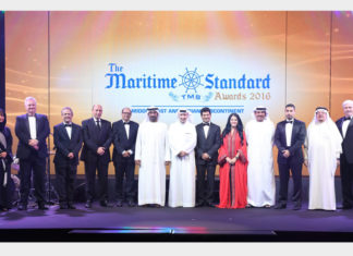 His Highness Sheikh Ahmed bin Saeed Al Maktoum (centre); (from left to right) Noura Al Dhaheri, Abu Dhabi Ports; Ray Girvan, International Bulk Journal & The Maritime Standard; Clive Woodbridge, The Maritime Standard; Eng. Yasser Zaghloul, National Marine Dredging Company; Rajiv Agarwal, Essar Ports; H.E. Shaikh Daij bin Salman Al Khalifa; Rania Ali; Khamis Juma Buamim, Gulf Navigation Holding; Ali Lakhani, Dubai Trading Agency; H.E. Dr. Abdullatif A. Sultan, Organisation of Islamic Shipowners Association; Jim Clancy