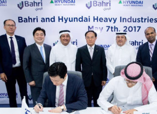 The MOU between HHI and Bahri being signed at the latter's Riyadh headquarters