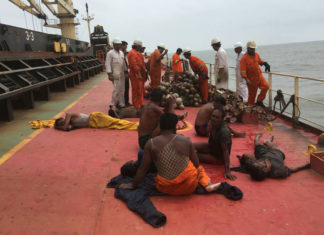 Rescued fishermen on the deck of the Dubai Knight