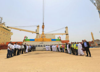 Port and shipping company executives gather at Duqm to mark the initial CMA CGM container consignment