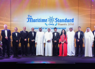 H.H. Sheikh Ahmed Bin Saeed Al Maktoum, President, Dubai Civil Aviation Authority and Chairman and Chief Executive, Emirates Airline and Group (centre), (left to right) Noura Rashed Al Dhaheri, Abu Dhabi Ports; Ray Girvan, Glenbuck Publishing; Clive Woodbridge, The Maritime Standard; Yasser Nasr Zagloul, National Marine Dreding Company; Rajiv Agarwal, Essar Ports; H.E. Shaikh Daij Bin Salman Al Khalifa, Arab Shipbuilding and Repair Yard; Rania Ali; Khamis Juma Buamim, Gulf Navigation; Ali Lakjani, Dubai Trading Agency; Dr. Abdullatif Abdullah Bin Sultan, Organisation of Islamic Shipowners Association; Jim Clancy.