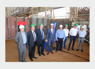 Executives from RAK Ports and Damen Shipyards Sharjah attending the keel-laying ceremony