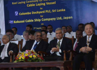 A keel laying ceremony for the new cable layer was held at Colombo Dockyard on September 7th