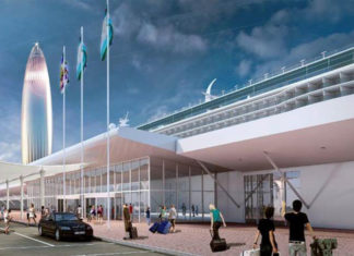 A computer generated image of one of the new cruise terminals planned for Dubai Harbour