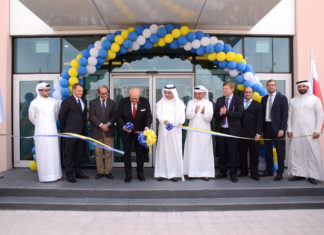 The ribbon cutting ceremony during the opening of GAC Bahrain's new warehouse and office building
