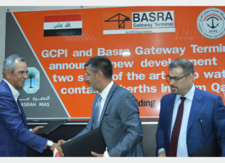 Enrique K. Razon Jr, chairman and president of ICTSI (far left); Chief Riyadh, director, General Company for Ports of Iraq (centre); and Eng. Ali Kh. Khalaf, Basra Mas chief executive, after signing the expansion agreement