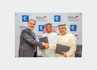 The long term supply agreement was signed by Abdulla Kalban, Managing Director and Chief Executive Officer of EGA; Shaheen's Chairman Rashed Al Suwaidi and Shaheen's Managing Director Walid Azhari. The signing was also witnessed by Abdelkareem Al Masabi, Executive Vice President, Ports, Abu Dhabi Ports which is the developer and operator of Khalifa Industrial Zone Abu Dhabi