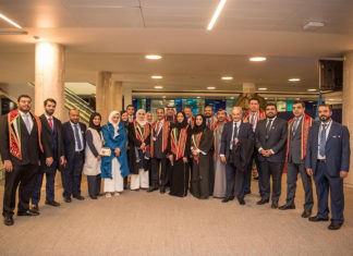 The UAE bid team celebrating being elected to the IMO Council
