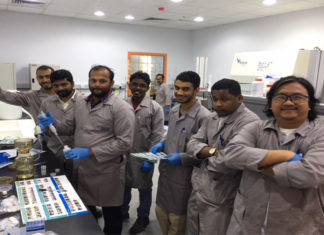 SGS Gulf inspectors learn how to use aqua-tools' B-Qua water monitoring equipment at their Dubai laboratory