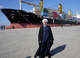 President Hassan Rouhani was present at the official opening of the Chabahar Port expansion