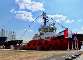 RT Raven alongside at Albwardy Damen's Sharjah yard prior to delivery