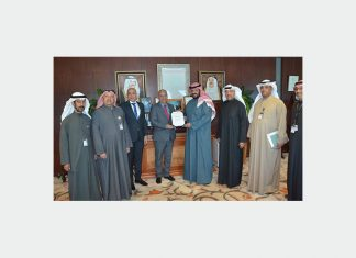 KOTC chief executive, Sheikh Talal Al Khaled Al Sabah receives the ISO 50001 energy management certificate