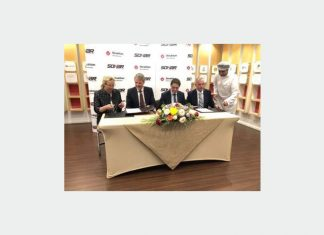 Sigrid Kaag, Dutch Minister of Foreign Affairs, Mark Geilenkirchen, CEO Port of Sohar, Chris Raijmakers, Director Middle East Strukton International and Yvo de Zwart, Operational Manager, Rock International Oman at the MOU signing