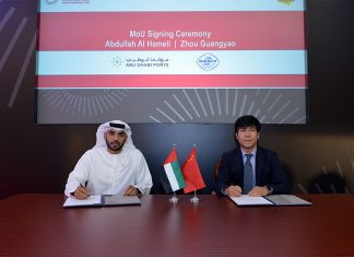 Abdulla Al Hameli, Executive Vice President, Corporate Support, Abu Dhabi Ports and Zhou Guangyao, Representative of the China Council for the Promotion of International Trade for the GCC region signing the new MOU agreement