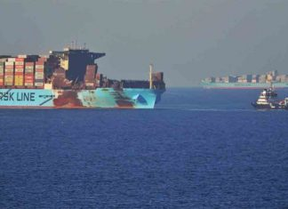 The fire damaged Maersk Honam is now at anchorage off Jebel Ali