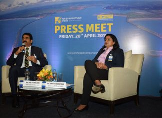 Vinita Venkatesh, director, KPCT, and Anil Yendluri, KPCL's chief executive, meet the press to discuss the port's performance in the 2017-18 fiscal year