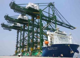 The three new container cranes arriving at BMCT in Nhava Sheva