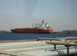 The 45,000 dwt chemical tanker NCC Amal leaving the port of Rabigh carrying the landmark shipment
