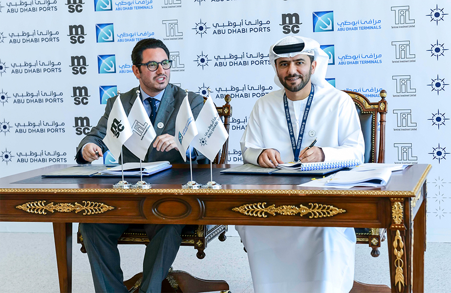 Diego Aponte of MSC and Captain Mohamed Al Shamisi of ADP signing the new 30-year concession agreement