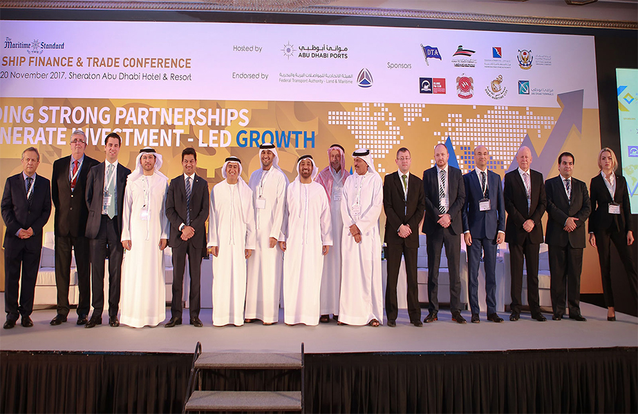 (from left to right) Clive Woodbridge, The Maritime Standard; Capt. Stephen Bligh, DNV GL; Jacob Berman, Standard Chartered; Abdulla bin Damithan, DP World; Trevor Pereira, The Maritime Standard; H.E. Dr. Ali Obaid Al Yabhouni, Ambassador to China; Abdulkareem Al Masabi, Abu Dhabi Ports; H.E. Dr. Abdullah Salem Alkatheeri, FTA; Khamis Juma Buamim, Gulf Navigation Holding; Chris Peters, Emirates Ship Investment Company; Ross Thompson, Abu Dhabi Ports; Bora Bariman, National Bank of Fujairah; Andrew Simmons, Global Marine Transport Capital; Amir Mosadeghi, Islamic P & I Club; Katherine Yakunchenkova, Al Safina Security