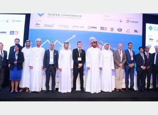(from left to right) Clive Woodbridge, The Maritime Standard; Ralph Becker, DNV GL; Dr. Ruanthi De Silva; SCM Plus (Pvt) Ltd; Waleed Al Tamimi; Emirates Classification (TASNEEF); Tarik Al Junaidi; Oman Shipping Company; Roger Harfouch, Marlink; Abdullah Bin Damithan, DP World; Chris Peters, Emirates Ship Investment Company; H.E. Sheikh Talal Al Khaled Al Sabah, Kuwait Oil Tanker Company, Ali Shehab, Kuwait Oil Tanker Company; Phillip Tinsley, BIMCO; Gaurav Moolwaney, Standard Chartered; Trevor Pereira, The Maritime Standard; Lakshmi Janarthanan, Drydocks World