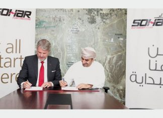 Mark Geilenkirchen, the chief executive of Sohar, signs the agreement with Nakheel representative, general manager, Ali Al Hussaini.