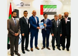 Trevor Pereira, MD, The Maritime Standard presenting the first copy of The Maritime Standard UAE Yearbook 2018/19, to H. E. Ali Abdulla Al Ahmed, UAE Ambassador to Germany, also present at the launch at the DMCA pavilion at SMM 2018 were H. E. Hisham Al Shirawi, Vice Chairman, Dubai Chamber of Commerce and Industries, Mr. Amer Ali, Executive Director, Dubai Maritime City Authority, Mr. Mohammed Al Muallem, CEO & MD UAE Region, DP World and a host of other dignitaries.