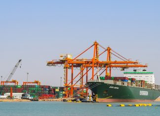 The containership Ever Useful alongside Berth 27 at Basra Gateway Terminal