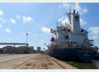 The bulk carrier Penna Suraksha making the maiden call at Cochin's latest cement terminal