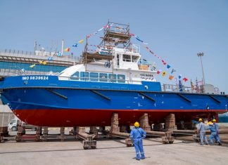 KOC's new pilot boat, Bahra, just prior to its launch at Grandweld shipyard in Dubai
