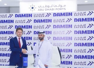 Captain Adil Ahmed Banihammed, acting chief marine services officer of Safeen, with Pascal Slingerland, regional sales director, Damen, at the signing ceremony at Abu Dhabi Boat Show 2018
