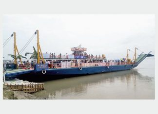 The ro-ro vessel Bhupen Hazarika will reduce journey times for trucks and passengers to Majuli Island in Assam