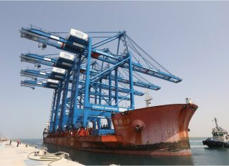 The first ship-to-shore container cranes arriving at the new Cosco Shipping Ports facility in Khalifa Port, Abu Dhabi