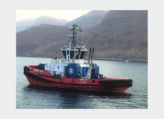 One of the two new Rotortugs that Kotug has deployed to service the SUMED contract