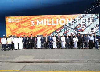 Senior management and guests celebrating the 3million container handled at Hutchison Ports Sohar