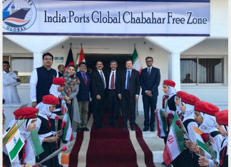 A small ceremony was held to mark the opening of the India Ports Global Limited's office in Chabahar, Iran