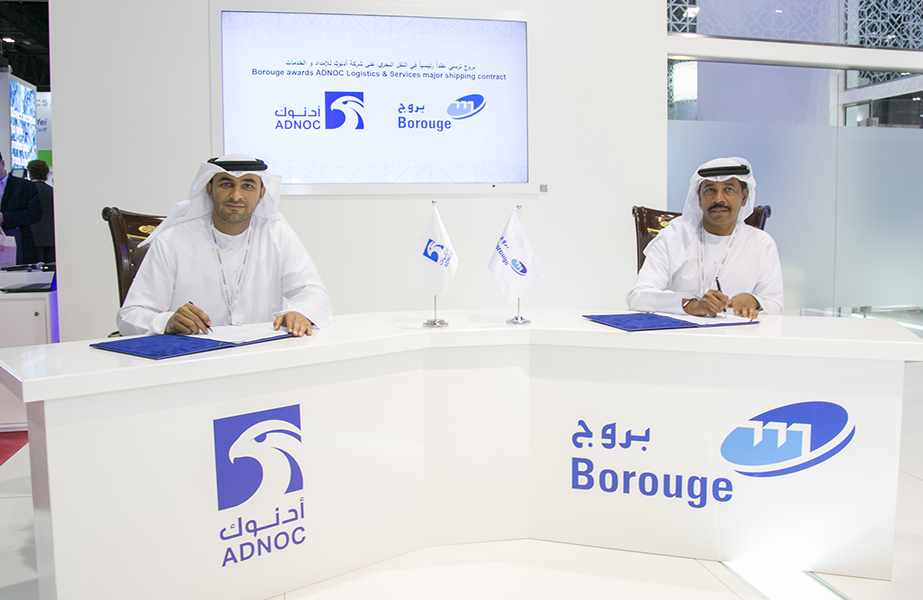 Borouge CEO, Ahmed Omar Abdulla, and Captain Abdulkareem Al-Masabi, CEO of ADNOC L&S, at the contract signing ceremony held during ArabPlast 2019