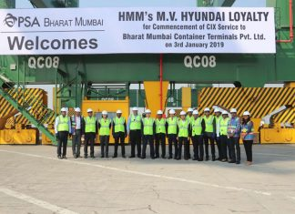 HMM and BMCT executives mark the maiden call of the Hyundai Loyalty at the terminal