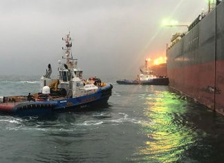 JAK ASD tugs handling the first VLCC under the new agreement on morning of 1st March