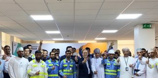 The Hutchison Ports Sohar team celebrating their productivity achievements