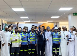 The Hutchison Ports Sohar team celebrating their productivity achievements