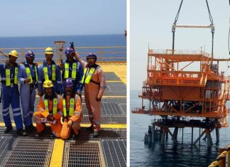 Drydocks World staff celebrate the completion of the new wellhead platform for the Aqam project